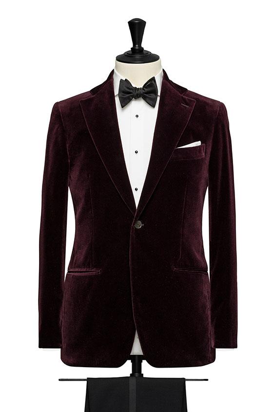 Темно-красный бархатный пиджак