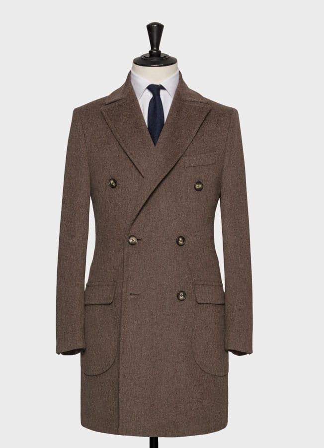 Серо-коричневое пальто из шерсти