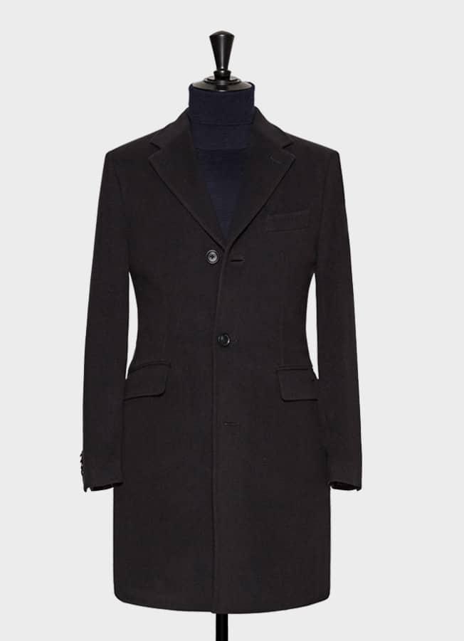 Черно-синее шерстяное пальто