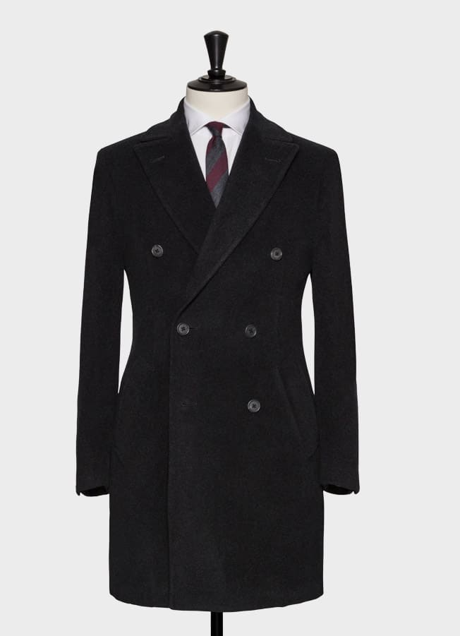 Угольно-серое шерстяное пальто