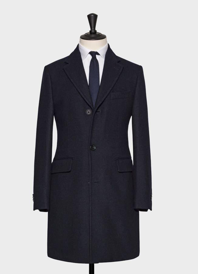 Темно-синее пальто из двусторонней шерсти