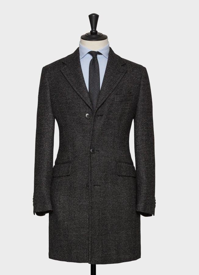 Темно-серое пальто из шерсти с эффектом stretch