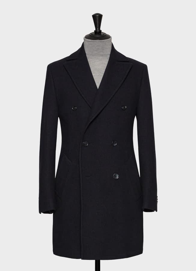 Темно-синее пальто из шерсти с эффектом stretch