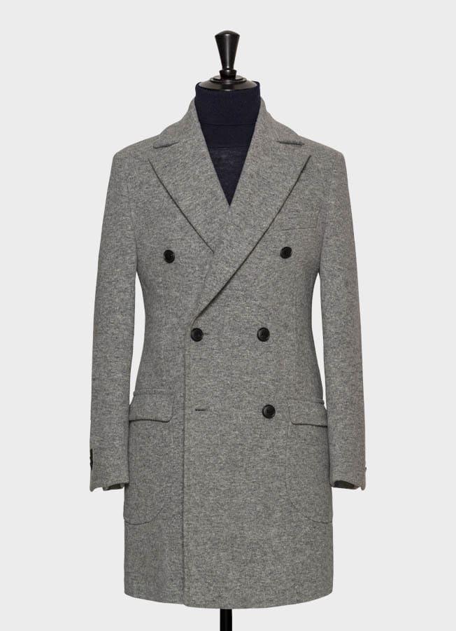 Светло-серое пальто из шерсти с эффектом stretch