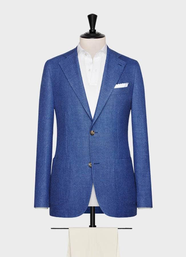 Синий пиджак с зернистой фактурой