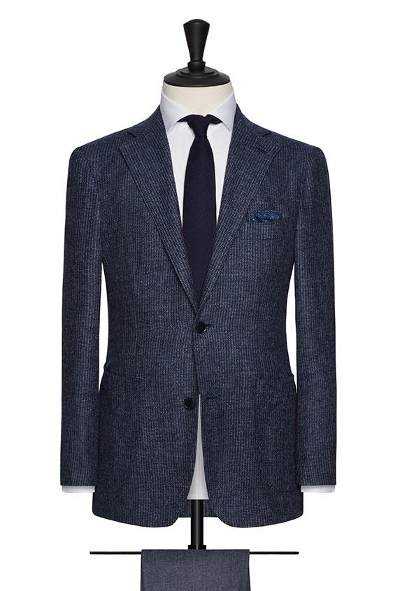 Пиджак синий в мелкую полоску