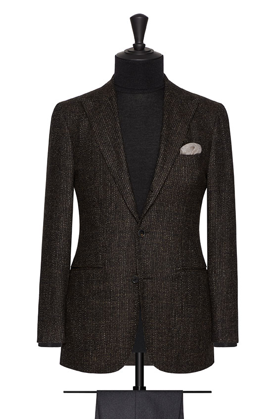 Пиджак темно-коричневый в мелкую полоску