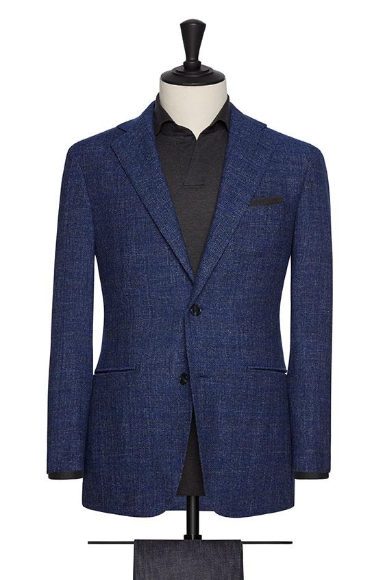 Пиджак синий фактурный в клетку