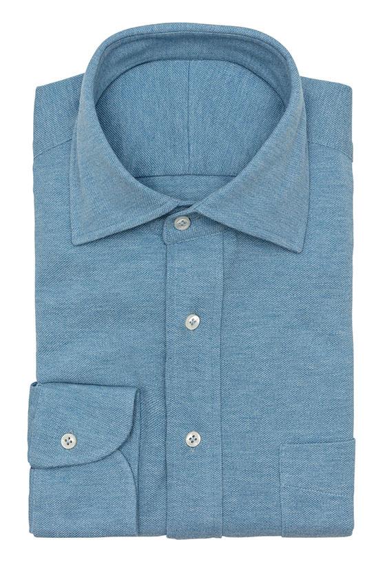 Сорочка-поло голубая меланжевая