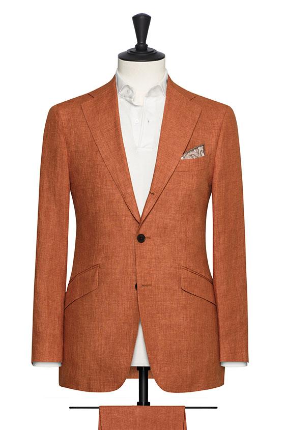 Костюм оранжевого цвета из льна