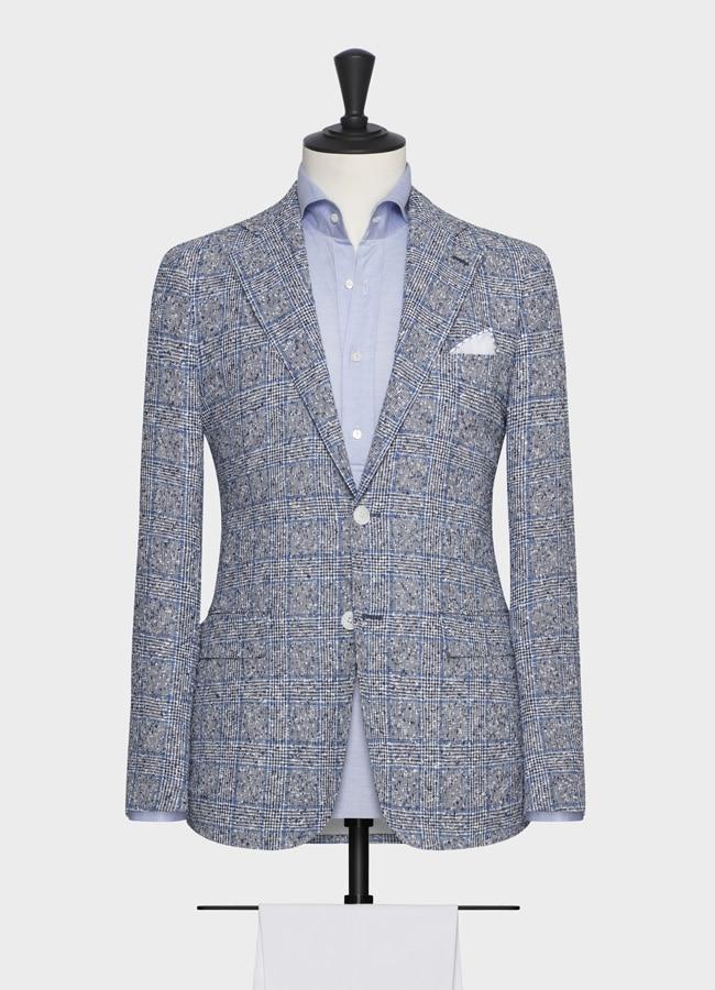 Пиджак светло-голубой в клетку фактурный