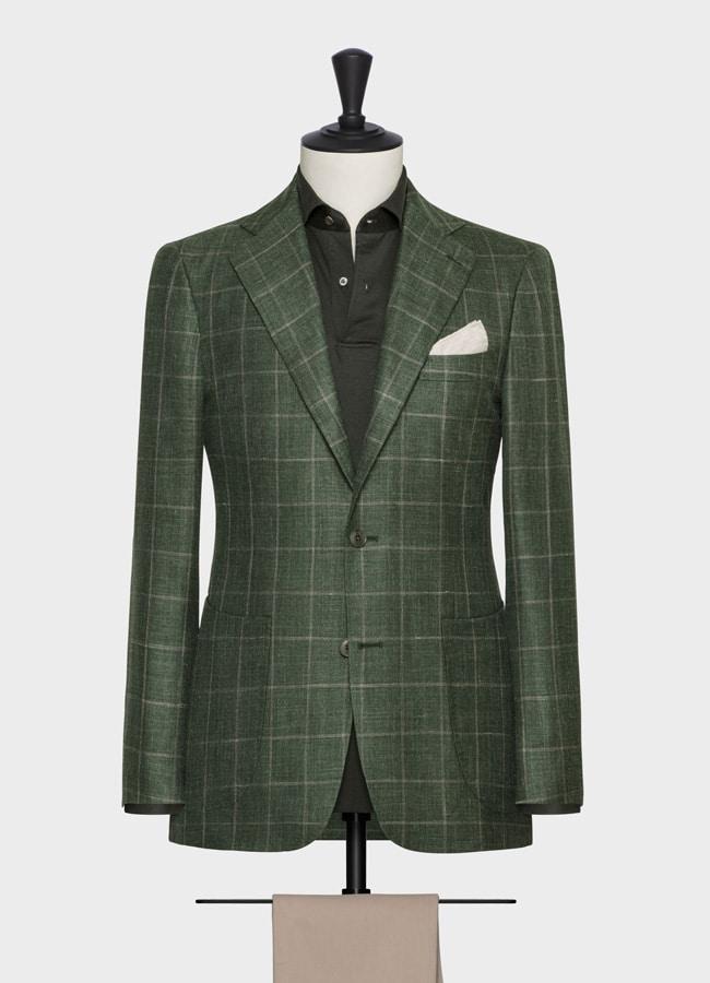 Пиджак светло-зеленый в тонкую клетку