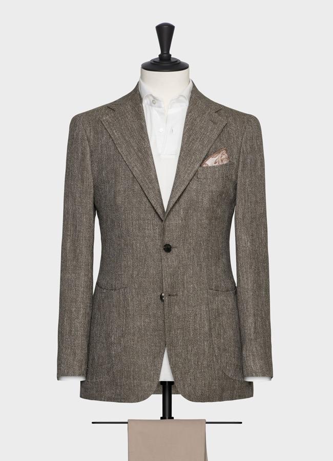 """Пиджак светло-коричневый в """"елочку"""""""