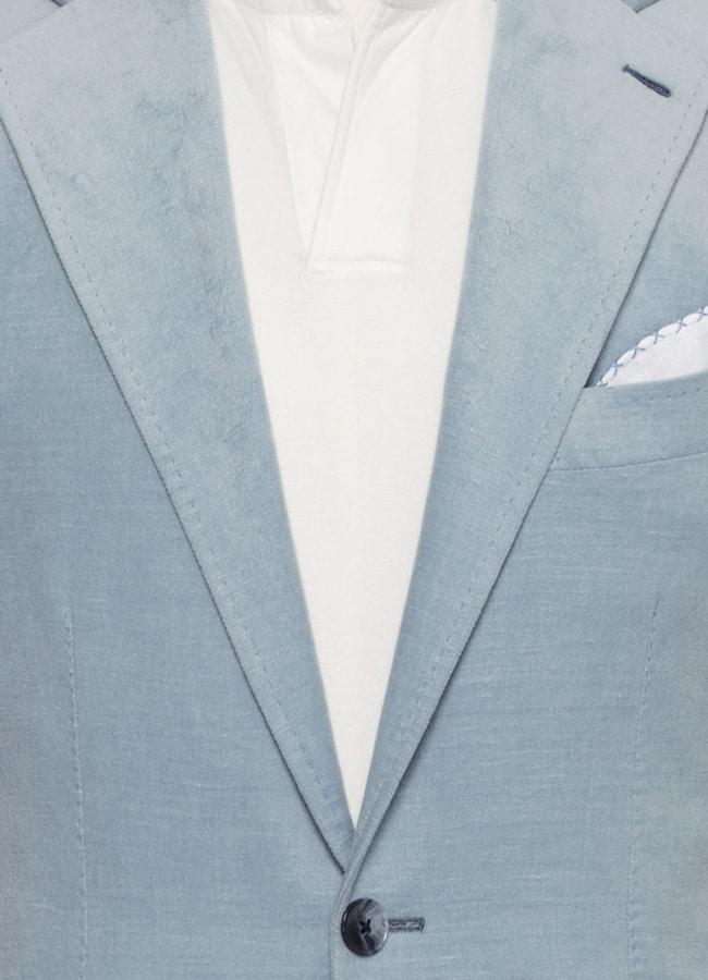Пиджак голубой бархатистый