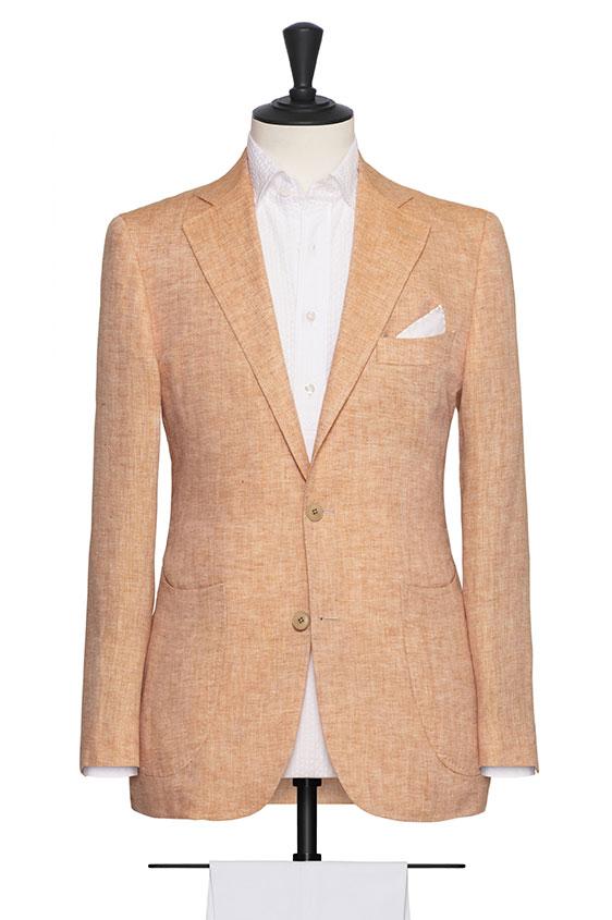 Пиджак светло-оранжевый в «елочку»
