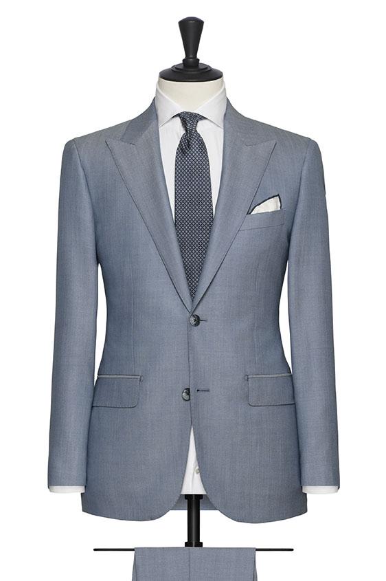 Костюм серо-голубой из шерсти зернистой фактуры