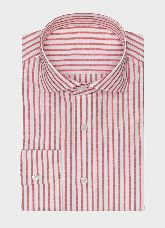 Сорочка белая в красную полоску