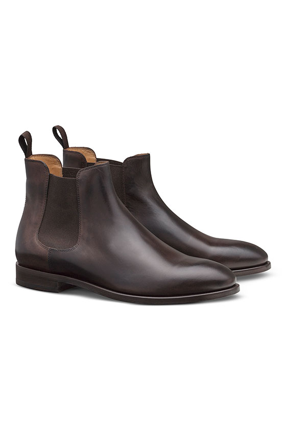 Темно-коричневые ботинки челси из кожи