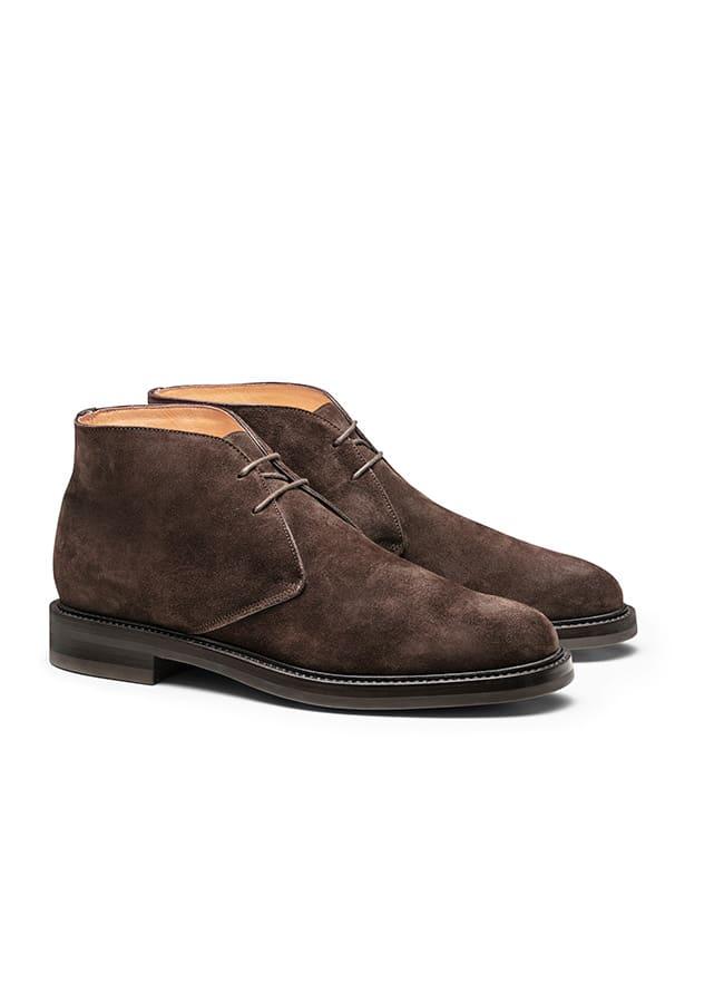 Ботинки чукка темно-коричневые из замши