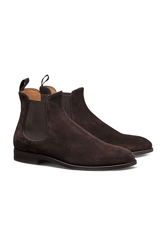 Темно-коричневые ботинки челси из замши