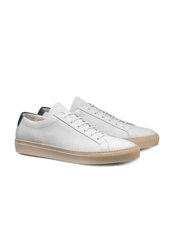 Кеды белые на шнуровке из кожи