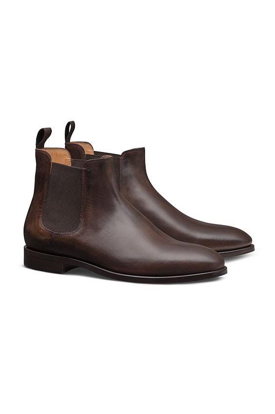 Коричневые ботинки челси из кожи