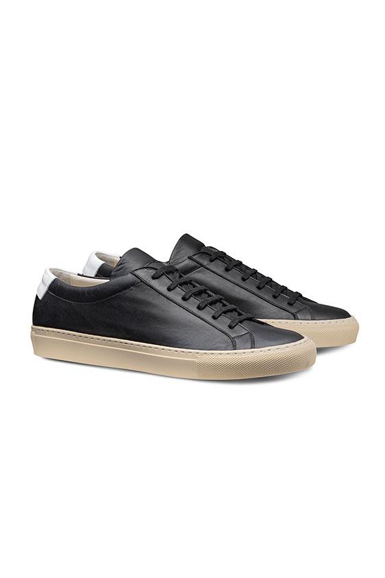 Черные кеды на шнуровке из кожи