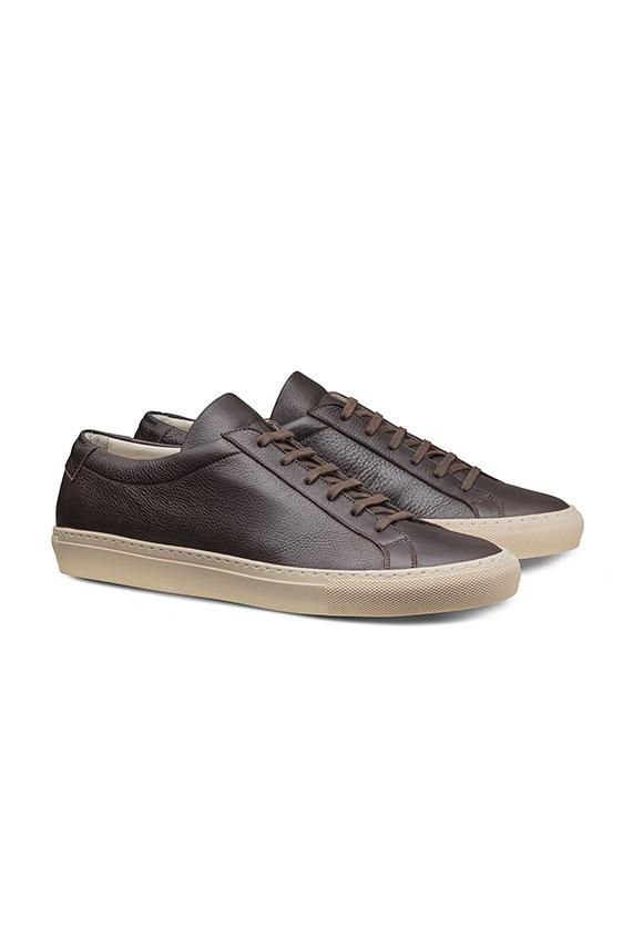 Кеды темно-коричневые на шнуровке из кожи