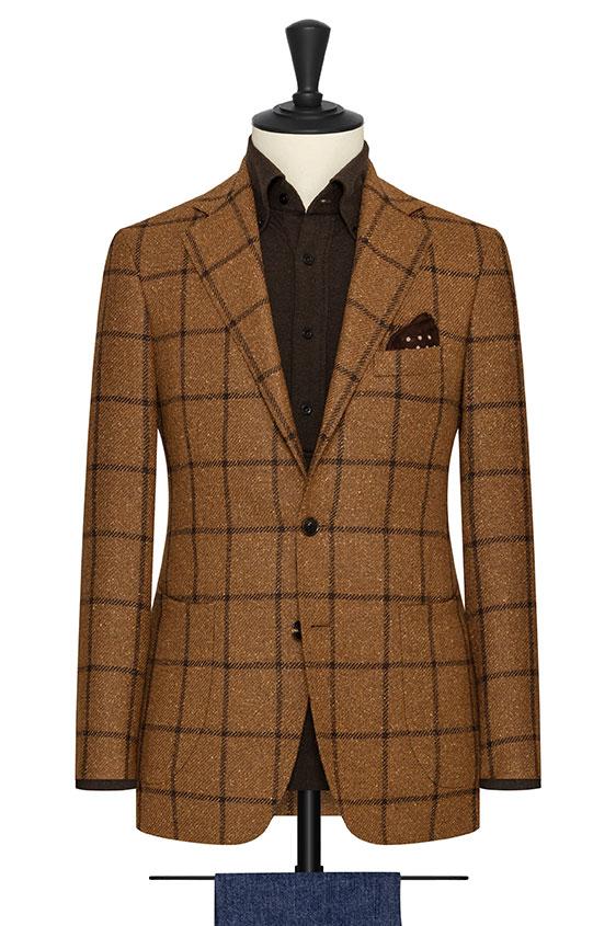 Коричневый пиджак в крупную темно-коричневую клетку