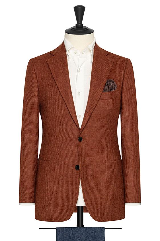 Ярко-оранжевый пиджак структуры твил