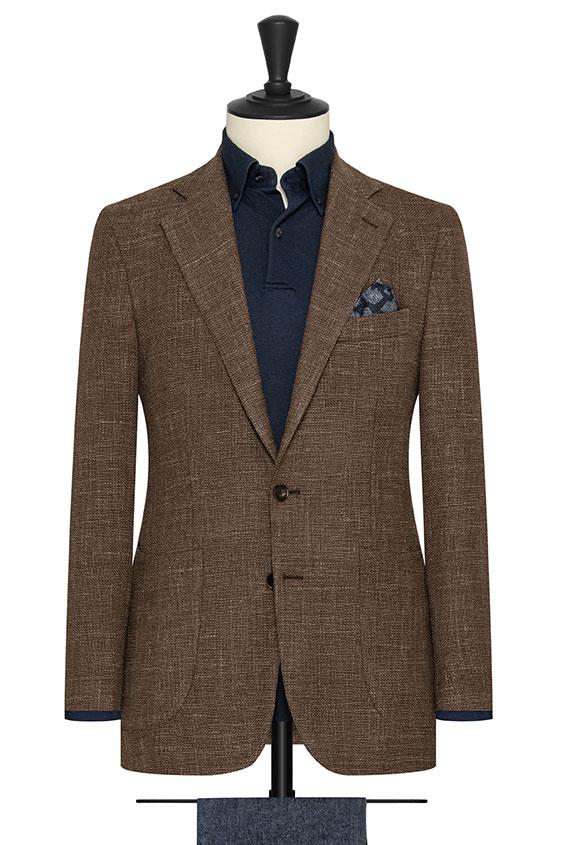 Серо-коричневый пиджак вязаной фактуры