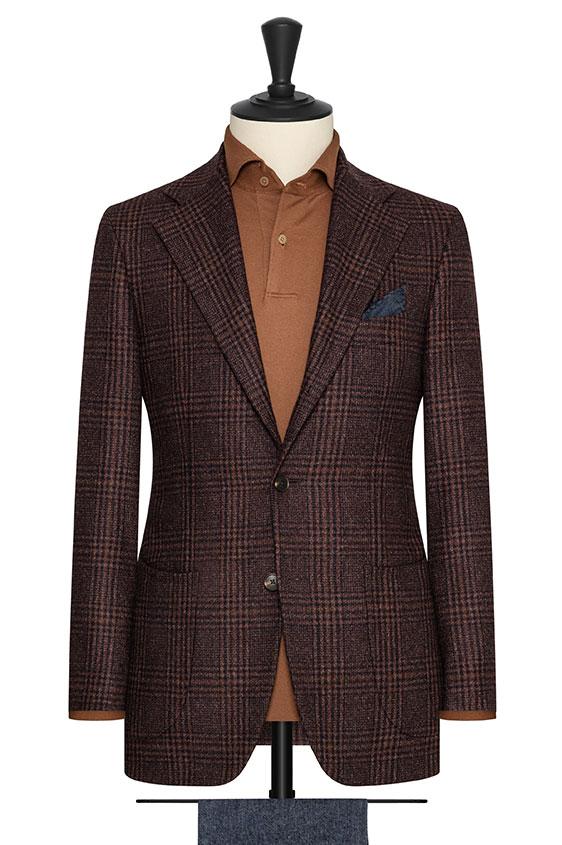 Бордово-коричневый пиджак в клетку «гленчек»