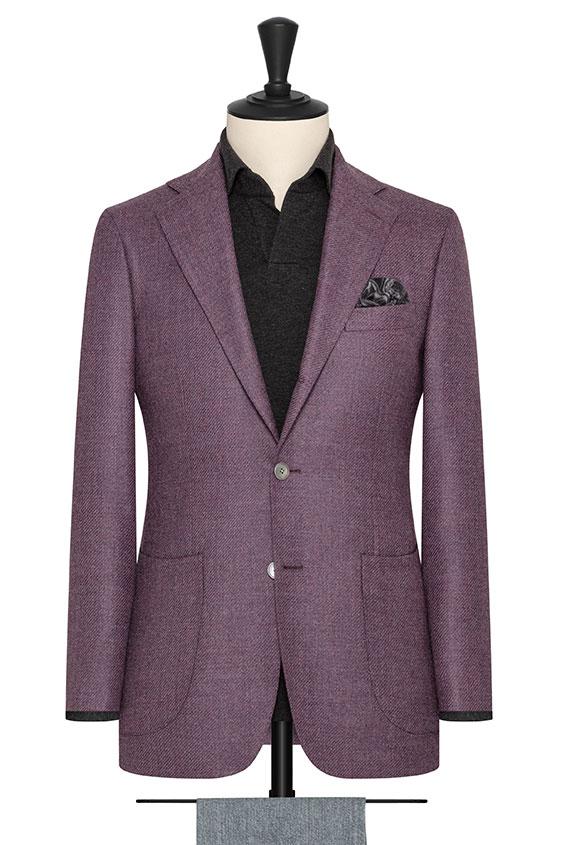 Лиловый пиджак структуры твил
