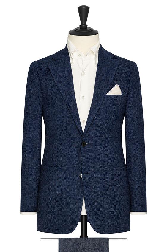 Темно-синий пиджак плетеной фактуры