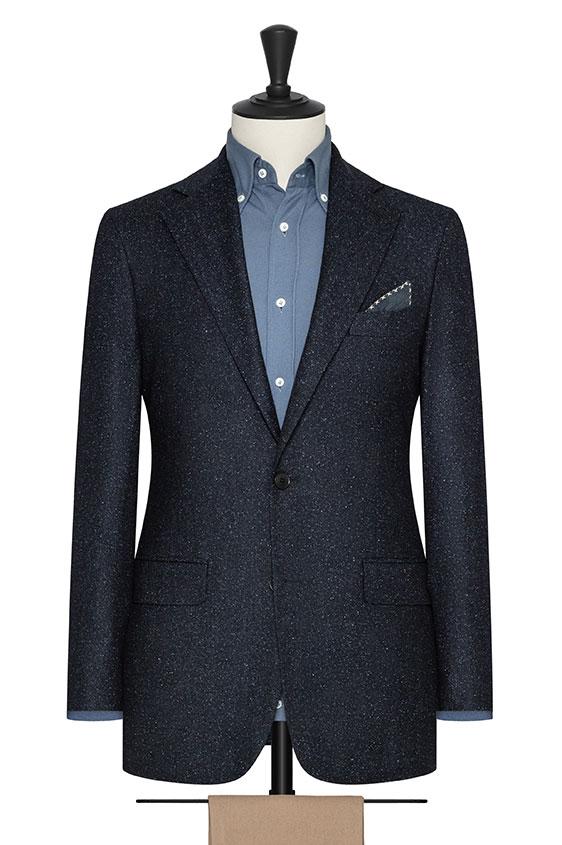 Темно-синий пиджак с белыми вкраплениями