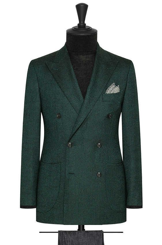 Зеленый двубортный пиджак