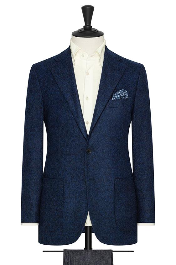 Темно-синий пиджак из шерсти альпаки