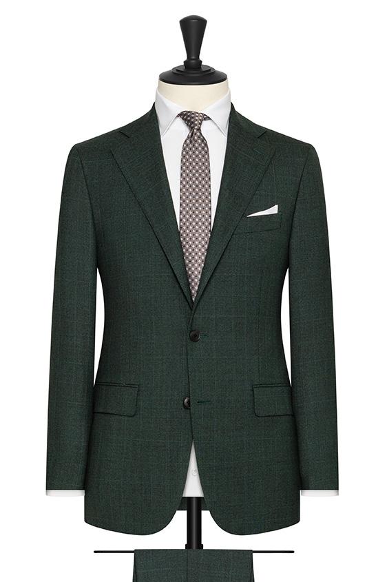 """Темно-зеленый костюм из шерсти в клетку """"гленчек"""""""