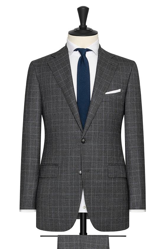 Серый шерстянной костюм в голубую клетку «гленчек»