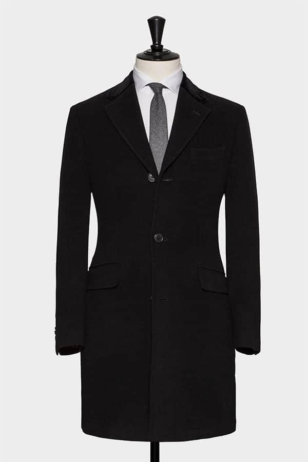 Черное однобортное пальто из шерсти