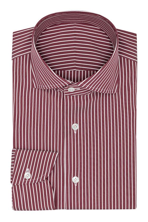 Светло-бордовая сорочка в белую полоску