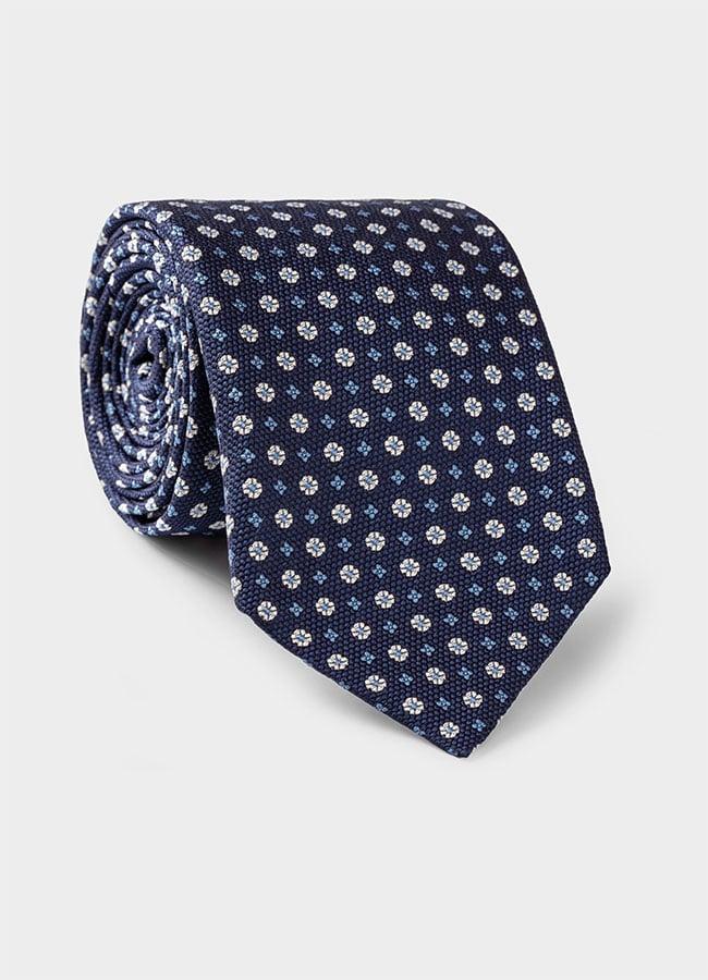 Темно-синий галстук из шелкового жаккарда с синим цветочным узором