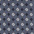 Сланцево-синий галстук из шелкового жаккарда с синим цветочным узором