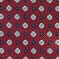 Темно-красный галстук из шелкового жаккарда с синим цветочным узором