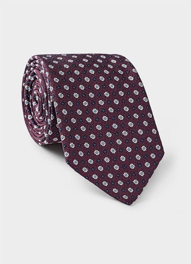 Бордовый галстук из шелкового жаккарда с синим цветочным узором