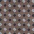 Серый галстук из шелкового жаккарда с синим цветочным узором