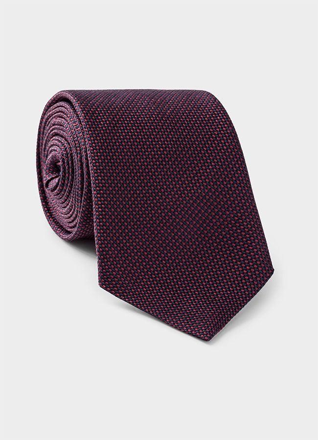 Бордово-синий галстук из плетеного шелка