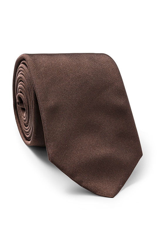 Коричневый галстук из шёлка