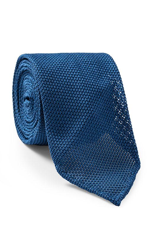 Ярко-синий галстук плетеной фактуры