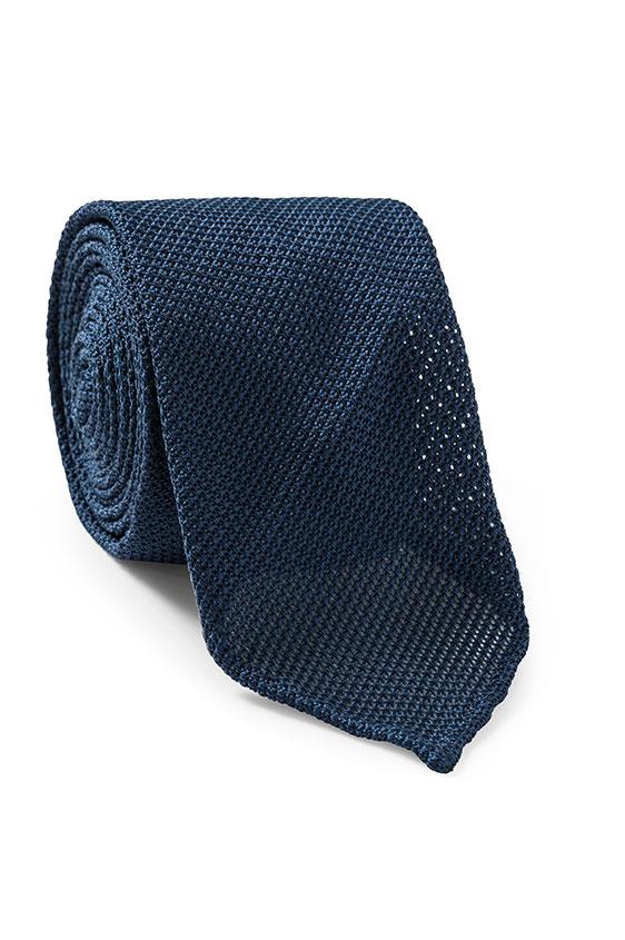 Темно-синий галстук плетеной фактуры